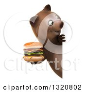 Clipart Of A 3d Happy Brown Bear Holding A Double Cheeseburger And Looking Around A Sign Royalty Free Illustration