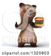 Clipart Of A 3d Happy Brown Bear Holding A Double Cheeseburger And Giving A Thumb Up Royalty Free Illustration