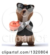 Clipart Of A 3d Happy Brown Business Bear Wearing Sunglasses Holding And Pointing To A Piggy Bank Royalty Free Illustration