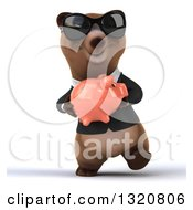 Clipart Of A 3d Happy Brown Business Bear Wearing Sunglasses Walking And Holding A Piggy Bank Royalty Free Illustration