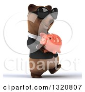 Clipart Of A 3d Happy Brown Business Bear Wearing Sunglasses Walking Slightly Right And Holding A Piggy Bank Royalty Free Illustration