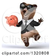 Clipart Of A 3d Happy Brown Business Bear Wearing Sunglasses Jumping And Holding A Piggy Bank Royalty Free Illustration
