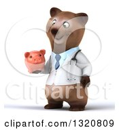 Clipart Of A 3d Happy Brown Bear Doctor Or Veterinarian Facing Slightly Left Holding And Looking At A Piggy Bank Royalty Free Illustration