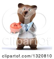 Clipart Of A 3d Happy Brown Bear Doctor Or Veterinarian Holding And Pointing To A Piggy Bank Royalty Free Illustration