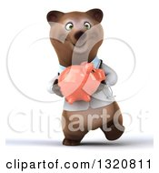 Clipart Of A 3d Happy Brown Bear Doctor Or Veterinarian Walking And Holding A Piggy Bank Royalty Free Illustration