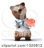 Clipart Of A 3d Happy Brown Bear Doctor Or Veterinarian Holding And Pointing To A Piggy Bank 2 Royalty Free Illustration