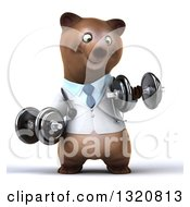 Clipart Of A 3d Happy Brown Bear Doctor Or Veterinarian Working Out Doing Bicep Curls With Dumbbells Royalty Free Illustration by Julos