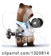 Clipart Of A 3d Happy Brown Bear Doctor Or Veterinarian Working Out Facing Slightly Right Doing Bicep Curls With Dumbbells Royalty Free Illustration by Julos