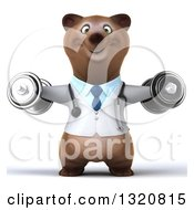 Clipart Of A 3d Happy Brown Bear Doctor Or Veterinarian Working Out Doing Lateral Raises With Dumbbells Royalty Free Illustration by Julos