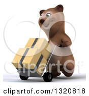 Clipart Of A 3d Happy Brown Bear Walking To The Left And Moving Boxes On A Dolly Royalty Free Illustration
