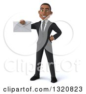 Clipart Of A 3d Happy Young Black Businessman Holding An Envelope Royalty Free Illustration