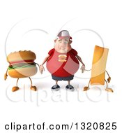Clipart Of A 3d Sad White Chubby Guy In A Red Burger Shirt Holding Hands With A Hamburger And French Fry Royalty Free Illustration