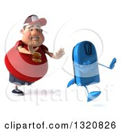 Clipart Of A 3d Chubby White Guy In A Red Burger Shirt Chasing A Scale Royalty Free Illustration