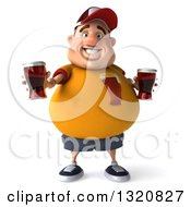 Clipart Of A 3d Chubby White Guy In A Yellow Shirt Holding Out A Beer Royalty Free Illustration