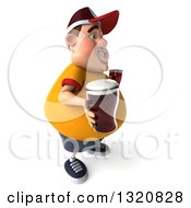 Clipart Of A 3d Chubby White Guy In A Yellow Shirt Facing Right And Holding Beers Royalty Free Illustration by Julos