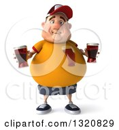 Clipart Of A 3d Sad Chubby White Guy In A Yellow Shirt Holding Beers Royalty Free Illustration