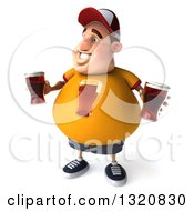 Clipart Of A 3d Chubby White Guy In A Yellow Shirt Looking Left And Holding Beers Royalty Free Illustration