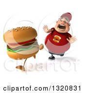 Clipart Of A 3d Chubby White Guy In A Red Burger Shirt Hungrily Chasing A Cheeseburger 2 Royalty Free Illustration