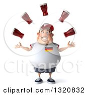 Clipart Of A 3d Chubby White Guy In A Gray German Flag Shirt Juggling Beer Royalty Free Illustration