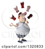 Clipart Of A 3d Chubby White Guy In A Gray German Flag Shirt Facing Right And Juggling Beer Royalty Free Illustration