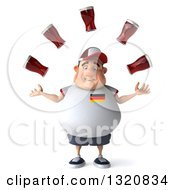 Clipart Of A 3d Sad Chubby White Guy In A Gray German Flag Shirt Juggling Beer Royalty Free Illustration