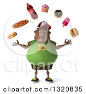 Clipart Of A 3d Sad Chubby Black Man In A Green Burger Shirt Juggling Junk Foods Royalty Free Illustration