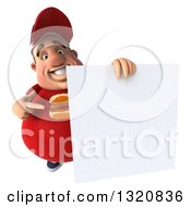 Clipart Of A 3d Chubby White Guy In A Red Burger Shirt Holding And Pointing To A Blank Sign Royalty Free Illustration by Julos