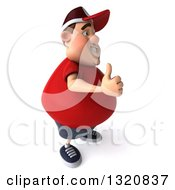 Clipart Of A 3d Chubby White Guy In A Red Burger Shirt Facing Right And Giving A Thumb Up Royalty Free Illustration by Julos