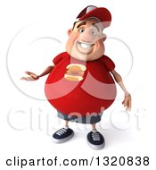 Clipart Of A 3d Chubby White Guy In A Red Burger Shirt Presenting Royalty Free Illustration by Julos