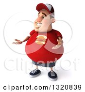 Clipart Of A 3d Chubby White Guy In A Red Burger Shirt Presenting 2 Royalty Free Illustration by Julos