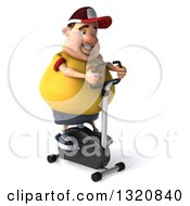 Clipart Of A 3d Chubby White Guy In A Yellow Burger Shirt Exercising On A Spin Bike 2 Royalty Free Illustration