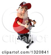 Clipart Of A 3d Chubby White Guy In A Red Burger Shirt Exercising On A Spin Bike Facing Slightly Right 2 Royalty Free Illustration
