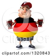 Clipart Of A 3d Chubby German Man Holding Beer 3 Royalty Free Illustration