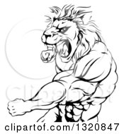 Clipart Of A Black And White Fierce Angry Muscular Lion Man Punching And Roaring Royalty Free Vector Illustration