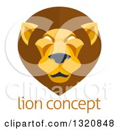 Clipart Of A Modern Flat Design Mal Lion Face Over Sample Text Royalty Free Vector Illustration