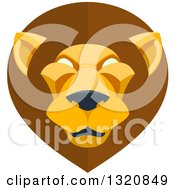 Clipart Of A Modern Flat Design Mal Lion Head Royalty Free Vector Illustration by AtStockIllustration