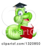 Clipart Of A Cartoon Happy Green Graduate Book Worm Reading Royalty Free Vector Illustration
