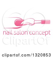 Clipart Of A White And Pink Nail Polish Brush And Finger Over Sample Text Royalty Free Vector Illustration by AtStockIllustration