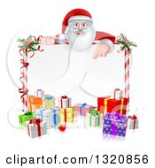Clipart Of A Cartoon Happy Santa Claus Pointing Down Over A Blank Candy Cane Framed Sign With Christmas Gifts And Holly Royalty Free Vector Illustration