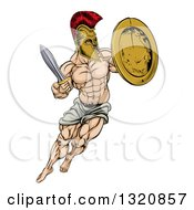 Clipart Of A Muscular Spartan Man In A Helmet Fighting And Jumping With A Sword And Shield Royalty Free Vector Illustration by AtStockIllustration