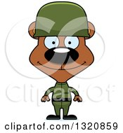 Clipart Of A Cartoon Happy Brown Bear Army Soldier Royalty Free Vector Illustration by Cory Thoman