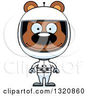 Clipart Of A Cartoon Happy Brown Bear Astronaut Royalty Free Vector Illustration