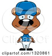 Clipart Of A Cartoon Happy Brown Bear Baseball Player Royalty Free Vector Illustration by Cory Thoman