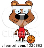 Clipart Of A Cartoon Happy Brown Bear Basketball Player Royalty Free Vector Illustration by Cory Thoman