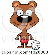 Clipart Of A Cartoon Happy Brown Bear Beach Volleyball Player Royalty Free Vector Illustration