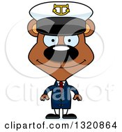 Clipart Of A Cartoon Happy Brown Bear Captain Royalty Free Vector Illustration