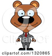 Clipart Of A Cartoon Happy Brown Bear Business Man Royalty Free Vector Illustration by Cory Thoman