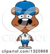 Clipart Of A Cartoon Happy Brown Bear Sports Coach Royalty Free Vector Illustration