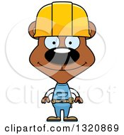 Clipart Of A Cartoon Happy Brown Bear Construction Worker Royalty Free Vector Illustration