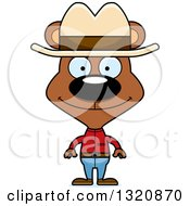 Clipart Of A Cartoon Happy Brown Bear Cowboy Royalty Free Vector Illustration by Cory Thoman